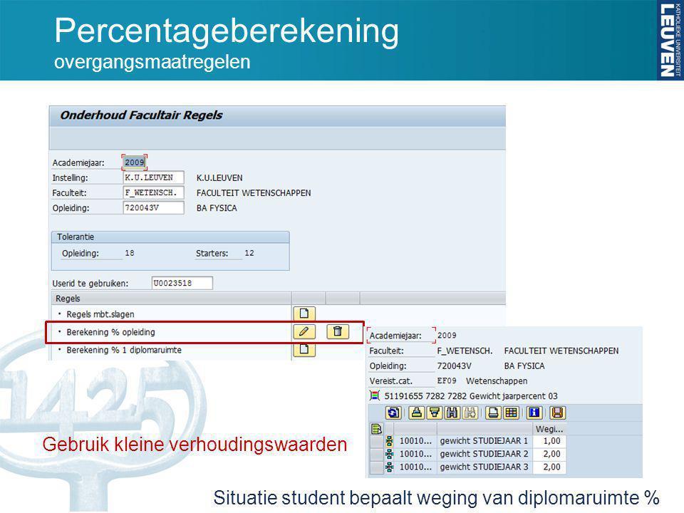 Percentageberekening overgangsmaatregelen Gebruik kleine verhoudingswaarden Situatie student bepaalt weging van diplomaruimte %