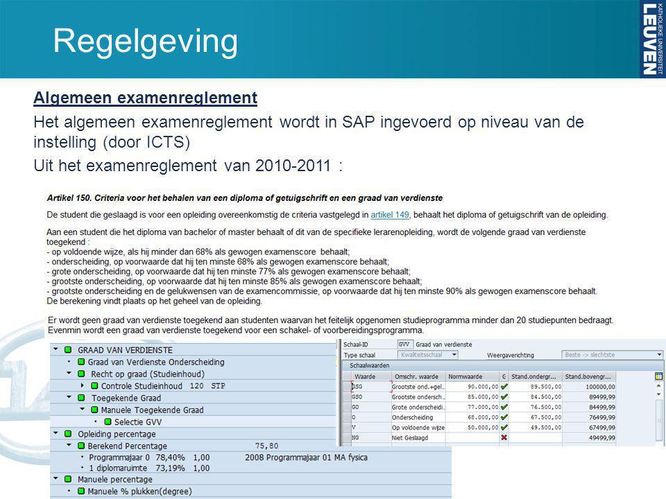 Regelgeving Algemeen examenreglement Het algemeen examenreglement wordt in SAP ingevoerd op niveau van de instelling (door ICTS) Uit het examenregleme