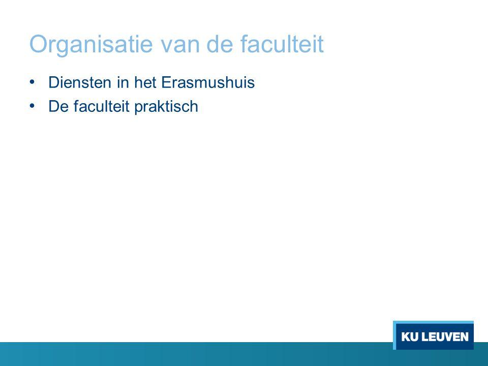 Organisatie van de faculteit Diensten in het Erasmushuis De faculteit praktisch