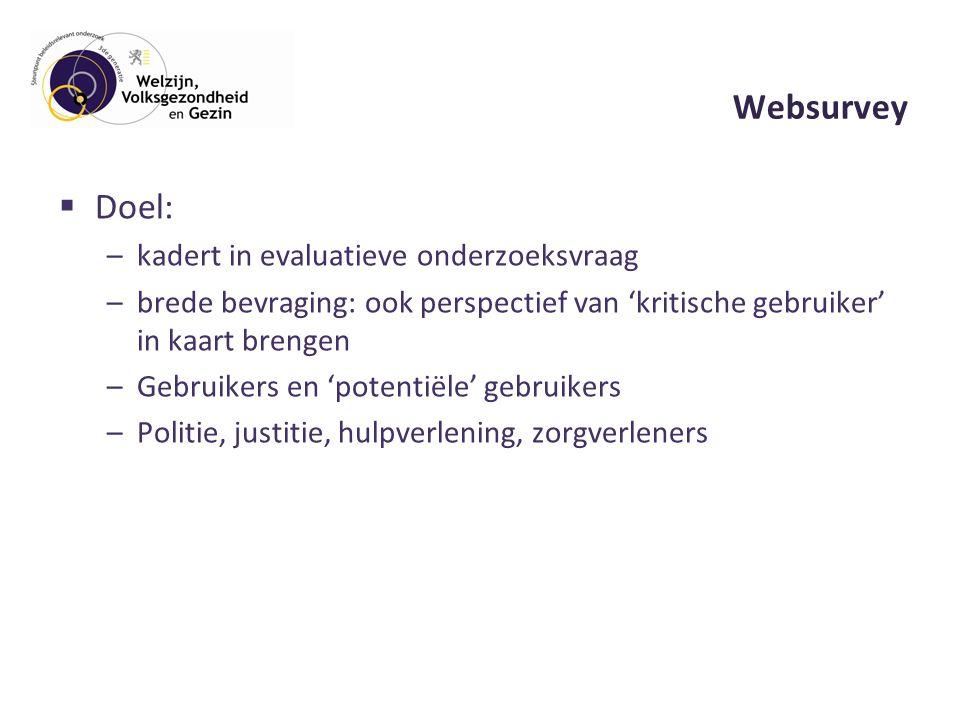 Websurvey  Doel: –kadert in evaluatieve onderzoeksvraag –brede bevraging: ook perspectief van 'kritische gebruiker' in kaart brengen –Gebruikers en 'potentiële' gebruikers –Politie, justitie, hulpverlening, zorgverleners