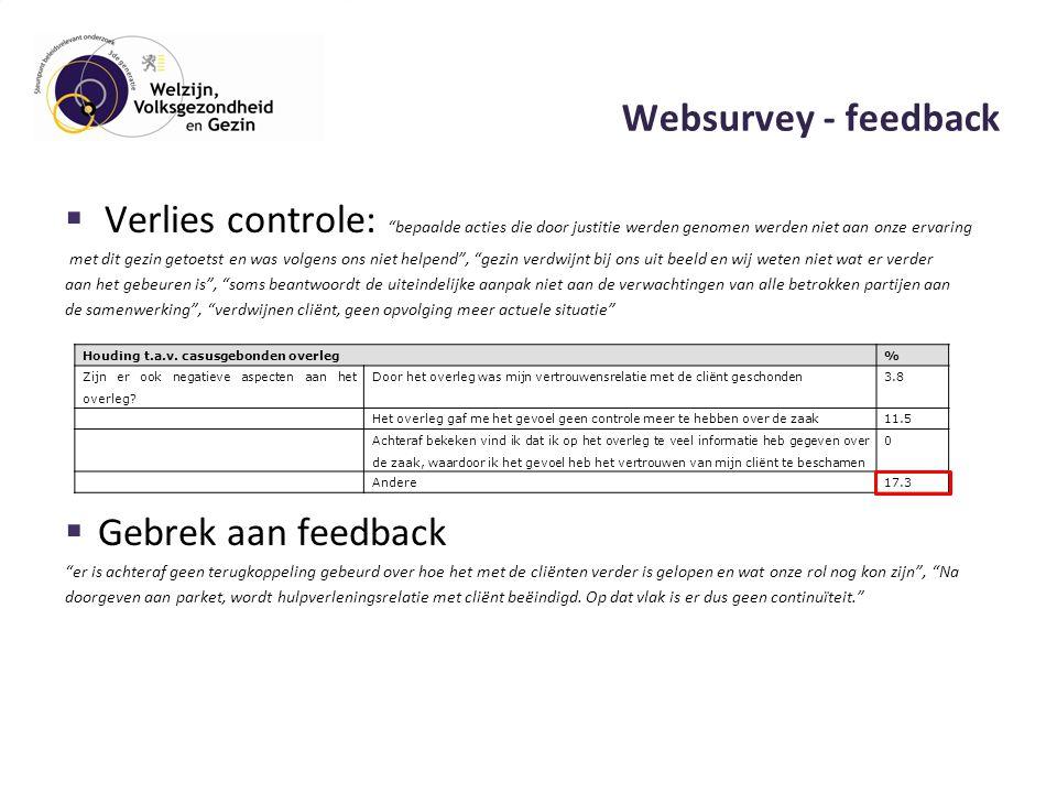 Websurvey - feedback  Verlies controle: bepaalde acties die door justitie werden genomen werden niet aan onze ervaring met dit gezin getoetst en was volgens ons niet helpend , gezin verdwijnt bij ons uit beeld en wij weten niet wat er verder aan het gebeuren is , soms beantwoordt de uiteindelijke aanpak niet aan de verwachtingen van alle betrokken partijen aan de samenwerking , verdwijnen cliënt, geen opvolging meer actuele situatie  Gebrek aan feedback er is achteraf geen terugkoppeling gebeurd over hoe het met de cliënten verder is gelopen en wat onze rol nog kon zijn , Na doorgeven aan parket, wordt hulpverleningsrelatie met cliënt beëindigd.