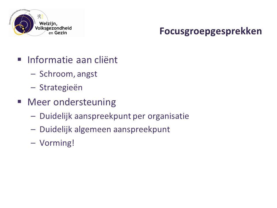 Focusgroepgesprekken  Informatie aan cliënt –Schroom, angst –Strategieën  Meer ondersteuning –Duidelijk aanspreekpunt per organisatie –Duidelijk algemeen aanspreekpunt –Vorming!