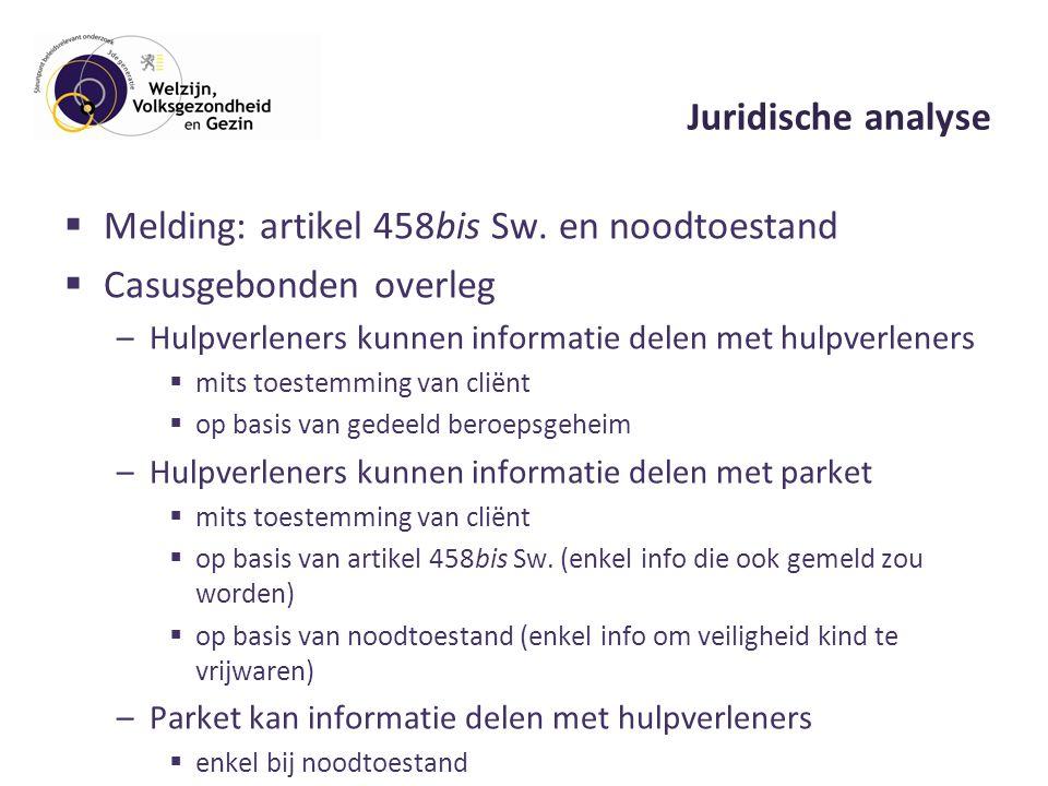 Juridische analyse  Melding: artikel 458bis Sw.