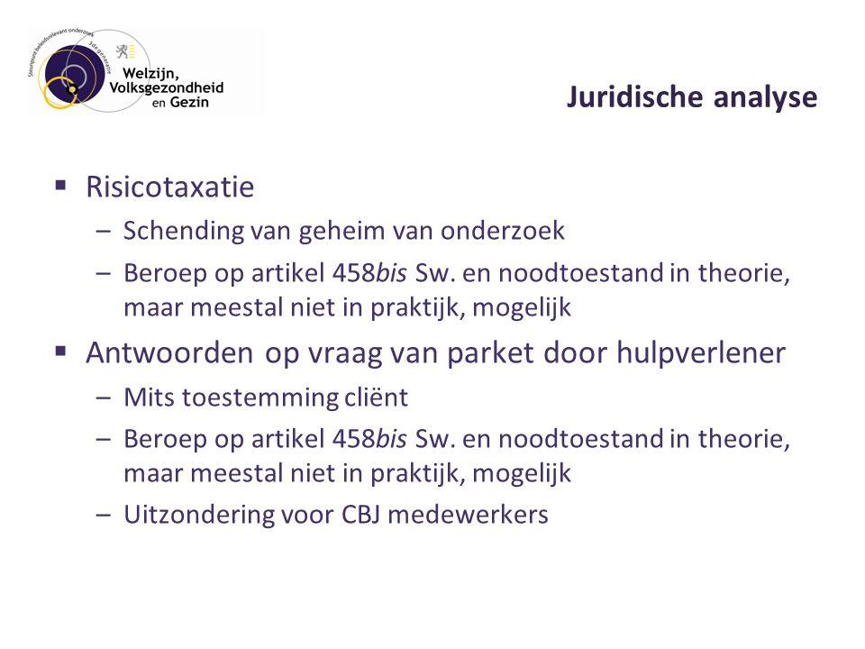 Juridische analyse  Risicotaxatie –Schending van geheim van onderzoek –Beroep op artikel 458bis Sw.