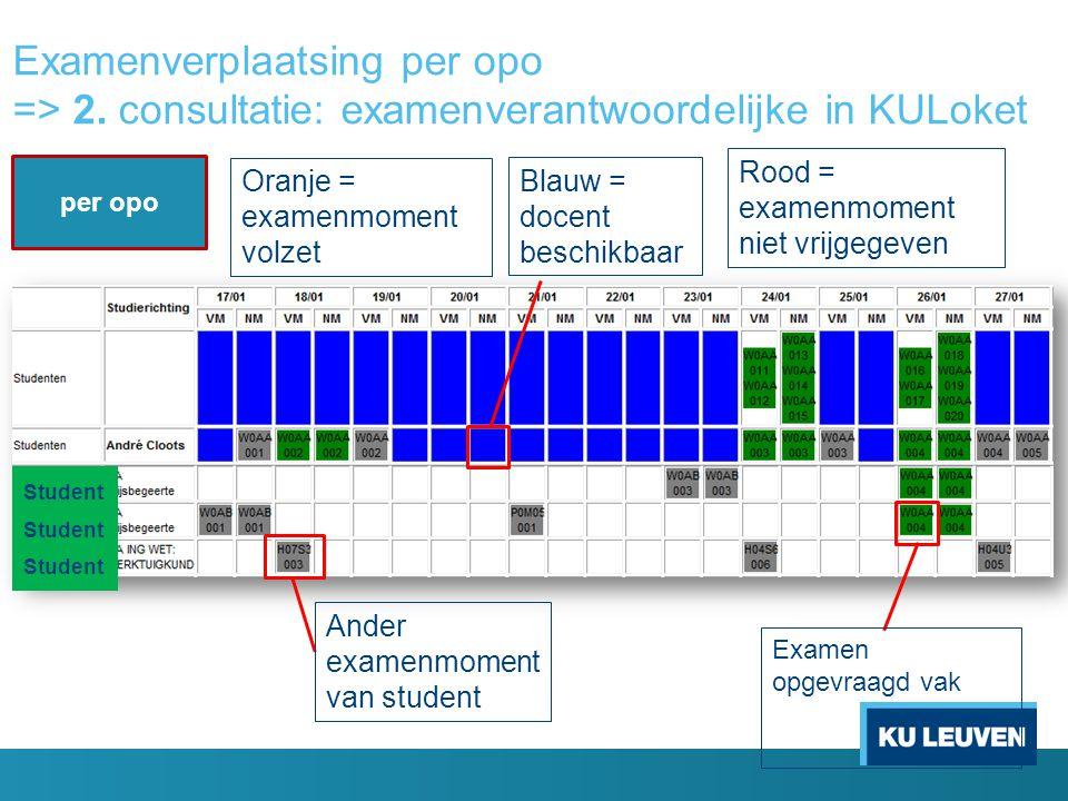 Examenverplaatsing per opo => 2. consultatie: examenverantwoordelijke in KULoket per opo Student Ander examenmoment van student Blauw = docent beschik