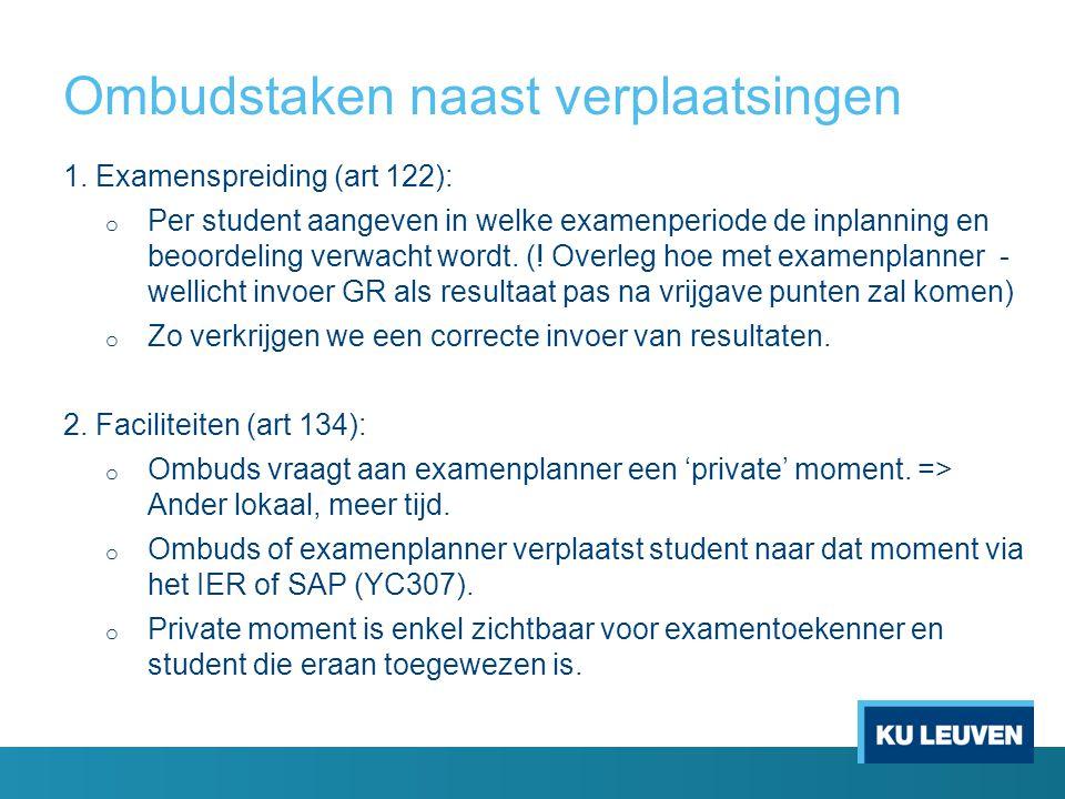 Ombudstaken naast verplaatsingen 1. Examenspreiding (art 122): o Per student aangeven in welke examenperiode de inplanning en beoordeling verwacht wor