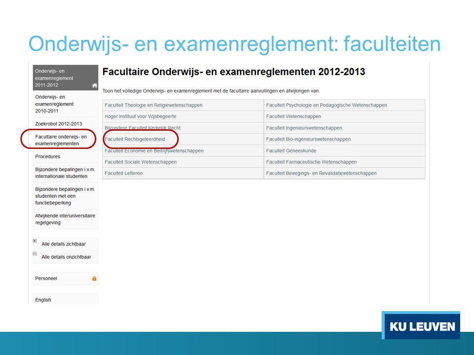 Onderwijs- en examenreglement: faculteiten