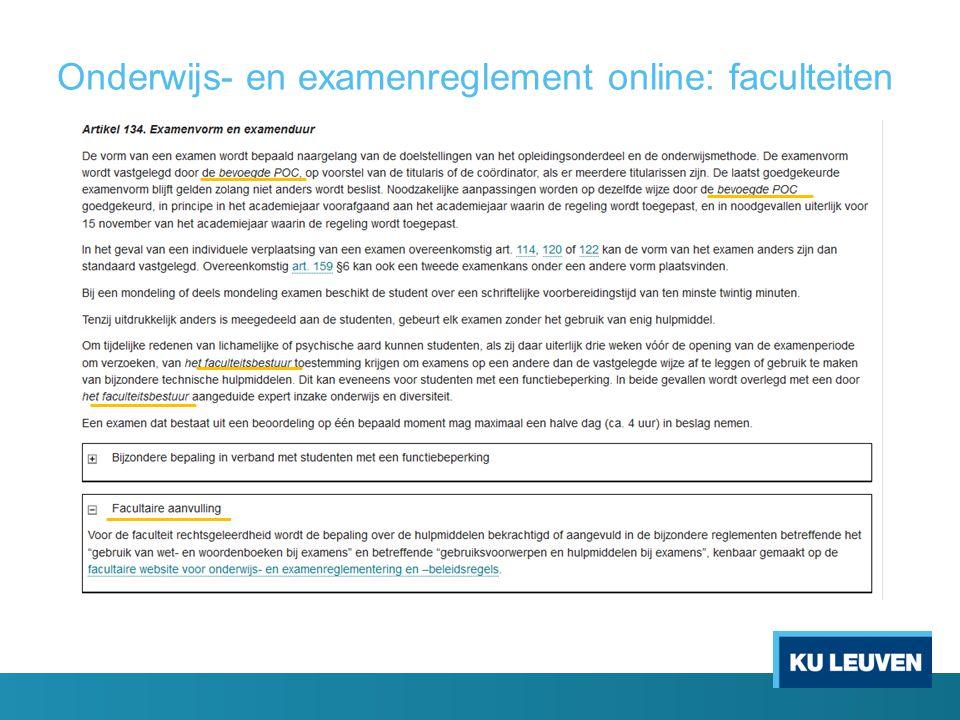 Onderwijs- en examenreglement online: faculteiten