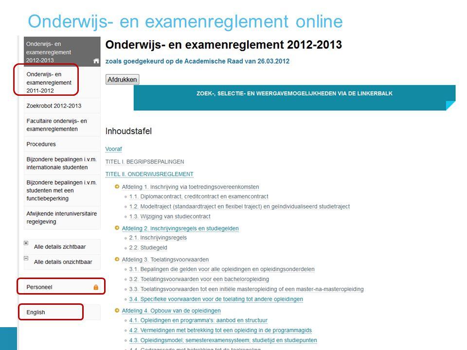 Onderwijs- en examenreglement online