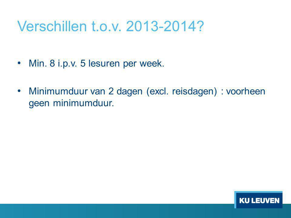 Verschillen t.o.v. 2013-2014. Min. 8 i.p.v. 5 lesuren per week.