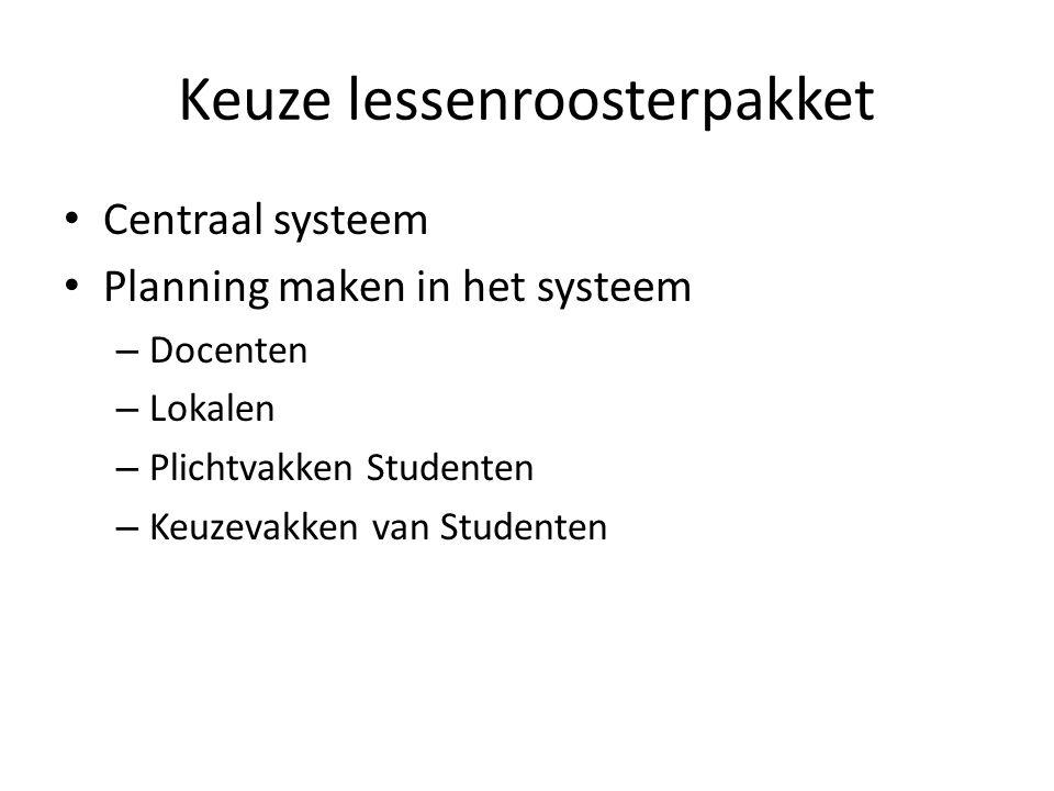 Keuze lessenroosterpakket Centraal systeem Planning maken in het systeem – Docenten – Lokalen – Plichtvakken Studenten – Keuzevakken van Studenten