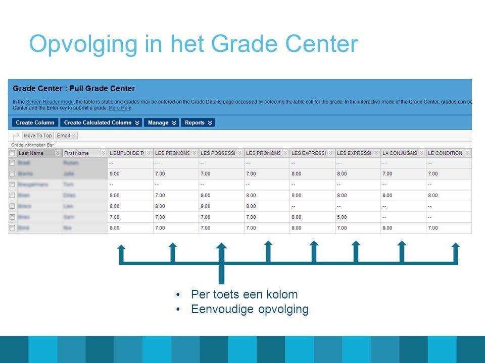 Opvolging in het Grade Center Per toets een kolom Eenvoudige opvolging