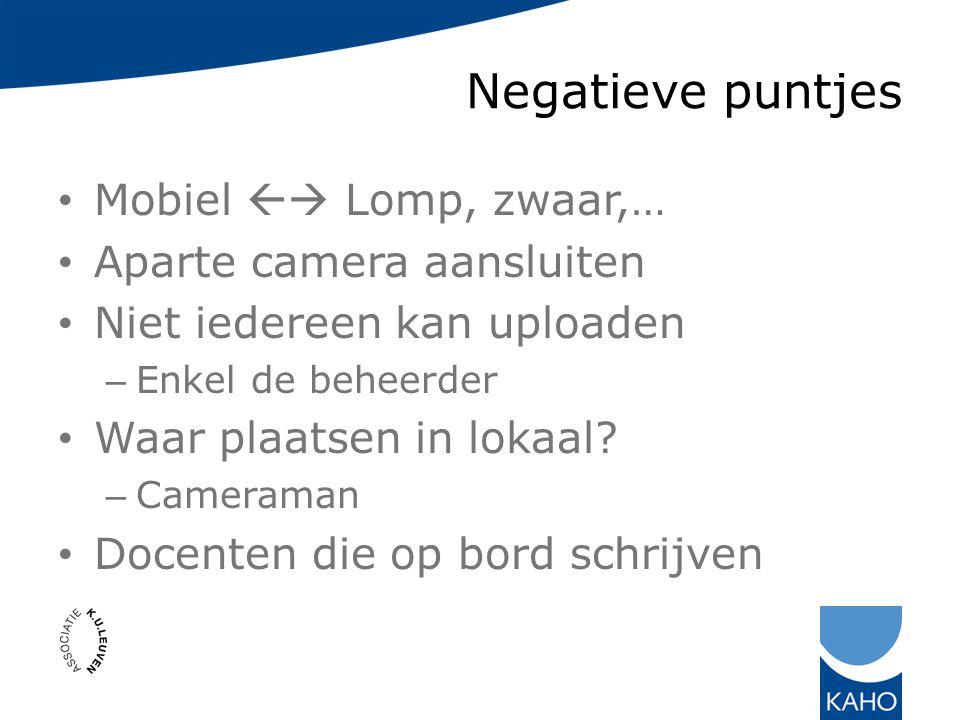 Negatieve puntjes Mobiel  Lomp, zwaar,… Aparte camera aansluiten Niet iedereen kan uploaden – Enkel de beheerder Waar plaatsen in lokaal.