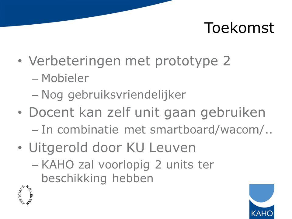 Toekomst Verbeteringen met prototype 2 – Mobieler – Nog gebruiksvriendelijker Docent kan zelf unit gaan gebruiken – In combinatie met smartboard/wacom/..