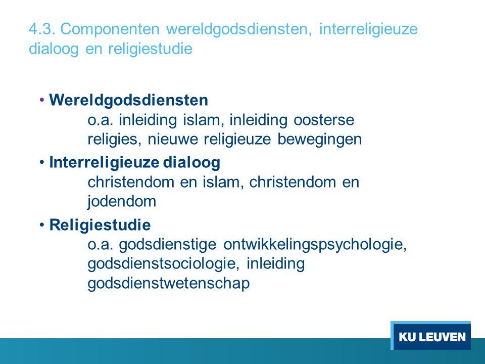 4.3. Componenten wereldgodsdiensten, interreligieuze dialoog en religiestudie Wereldgodsdiensten o.a. inleiding islam, inleiding oosterse religies, ni