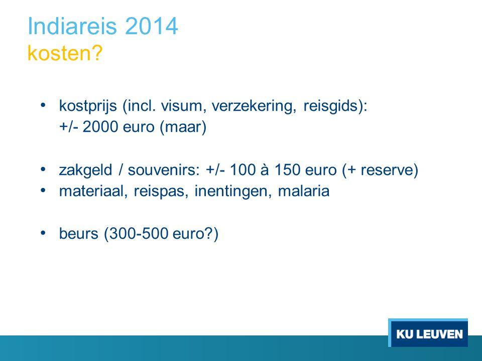 Indiareis 2014 kosten. kostprijs (incl.