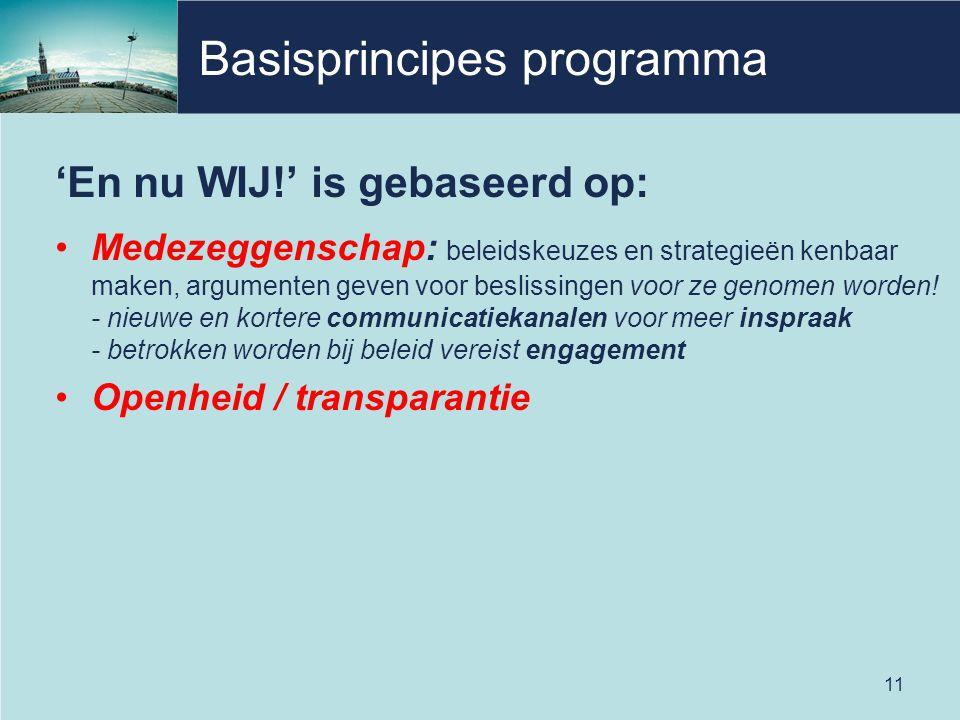 Basisprincipes programma 'En nu WIJ!' is gebaseerd op: Medezeggenschap: beleidskeuzes en strategieën kenbaar maken, argumenten geven voor beslissingen voor ze genomen worden.