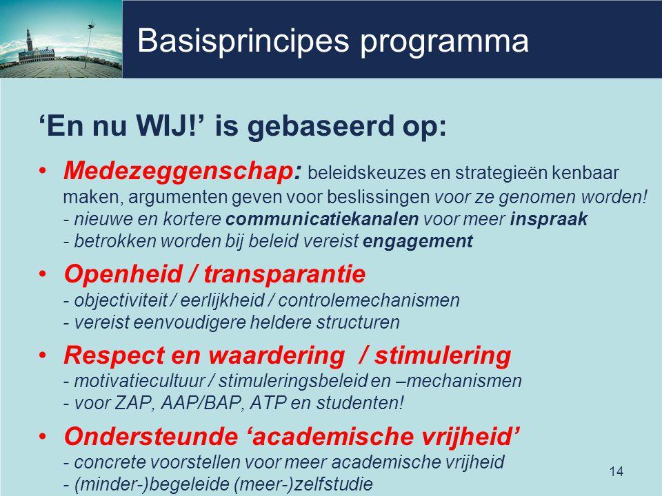 Basisprincipes programma 'En nu WIJ!' is gebaseerd op: Medezeggenschap: beleidskeuzes en strategieën kenbaar maken, argumenten geven voor beslissingen
