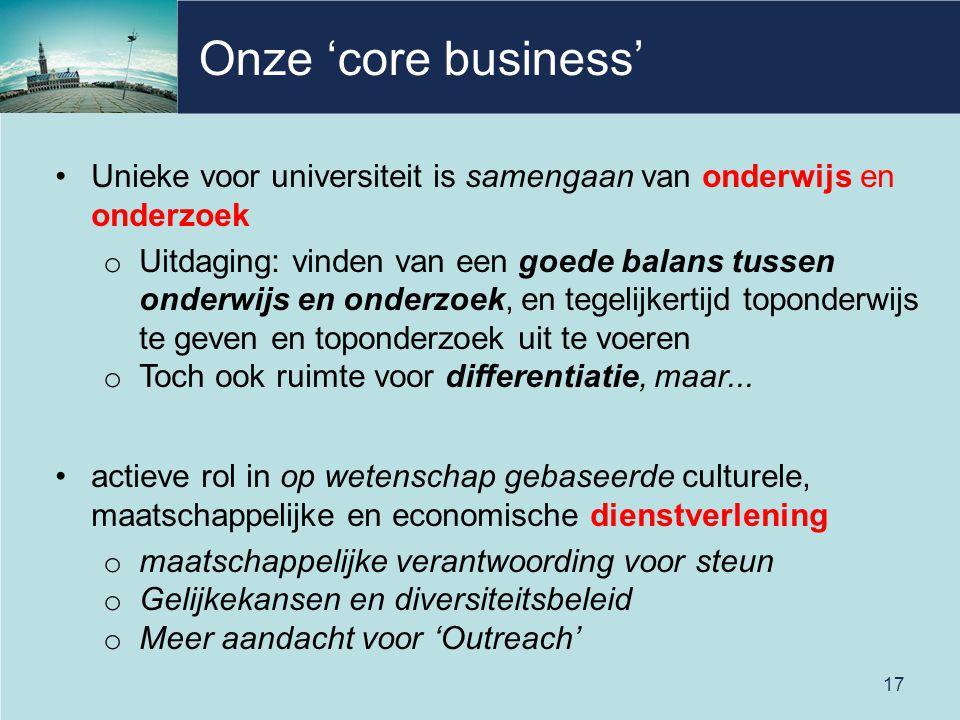 Onze 'core business' Unieke voor universiteit is samengaan van onderwijs en onderzoek o Uitdaging: vinden van een goede balans tussen onderwijs en ond