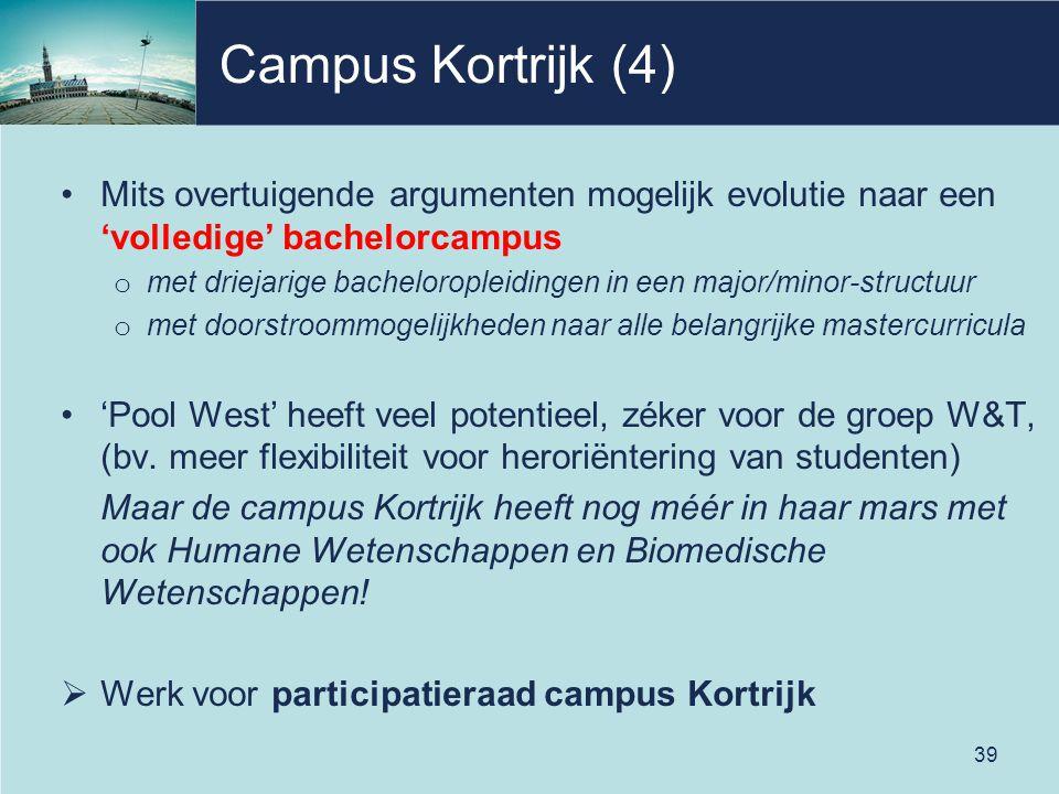 Campus Kortrijk (4) Mits overtuigende argumenten mogelijk evolutie naar een 'volledige' bachelorcampus o met driejarige bacheloropleidingen in een major/minor-structuur o met doorstroommogelijkheden naar alle belangrijke mastercurricula 'Pool West' heeft veel potentieel, zéker voor de groep W&T, (bv.