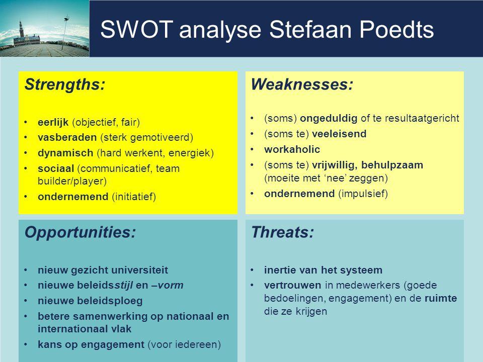 SWOT analyse Stefaan Poedts Strengths: eerlijk (objectief, fair) vasberaden (sterk gemotiveerd) dynamisch (hard werkent, energiek) sociaal (communicatief, team builder/player) ondernemend (initiatief) 5 Weaknesses: (soms) ongeduldig of te resultaatgericht (soms te) veeleisend workaholic (soms te) vrijwillig, behulpzaam (moeite met 'nee' zeggen) ondernemend (impulsief) Opportunities: nieuw gezicht universiteit nieuwe beleidsstijl en –vorm nieuwe beleidsploeg betere samenwerking op nationaal en internationaal vlak kans op engagement (voor iedereen) Threats: inertie van het systeem vertrouwen in medewerkers (goede bedoelingen, engagement) en de ruimte die ze krijgen