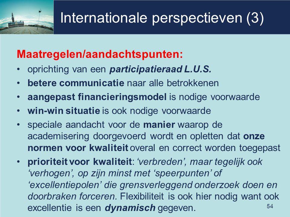 Internationale perspectieven (3) Maatregelen/aandachtspunten: oprichting van een participatieraad L.U.S. betere communicatie naar alle betrokkenen aan