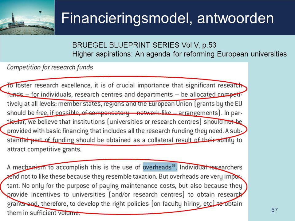 Financieringsmodel, antwoorden 57 BRUEGEL BLUEPRINT SERIES Vol V, p.53 Higher aspirations: An agenda for reforming European universities