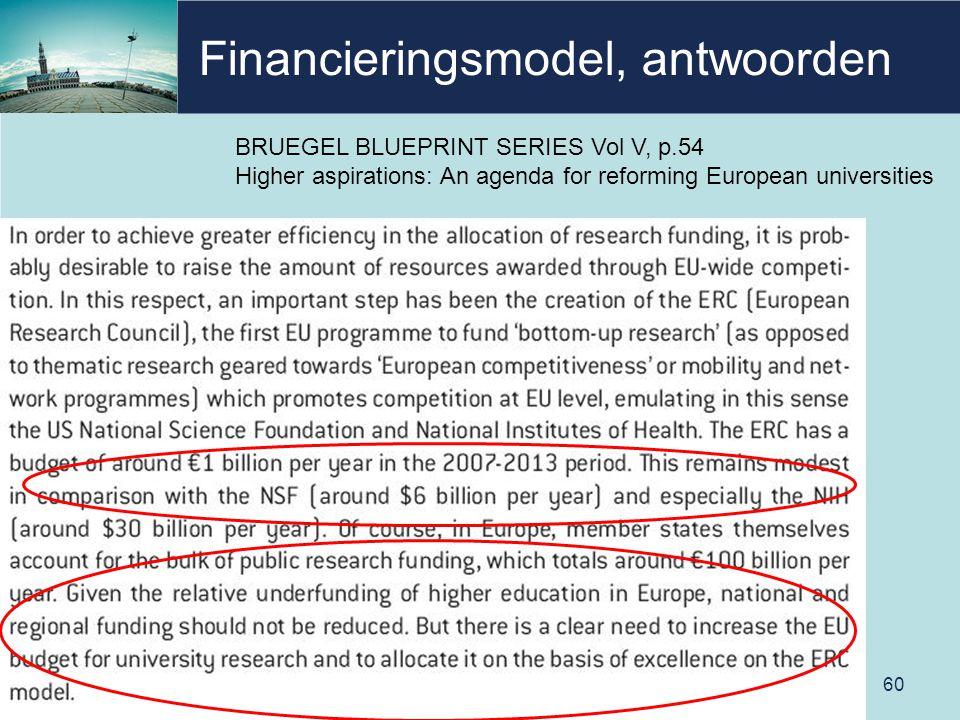 Financieringsmodel, antwoorden 60 BRUEGEL BLUEPRINT SERIES Vol V, p.54 Higher aspirations: An agenda for reforming European universities