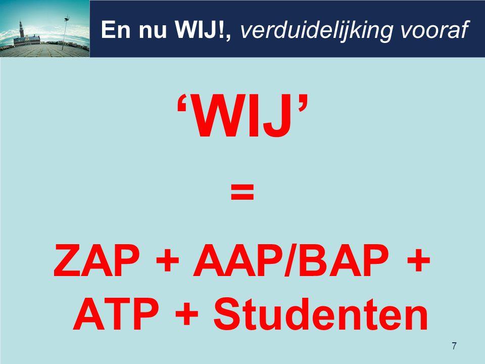 En nu WIJ!, verduidelijking vooraf 'WIJ' = ZAP + AAP/BAP + ATP + Studenten 7