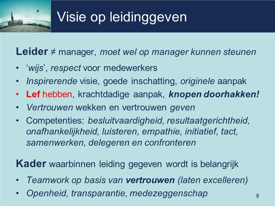 Visie op leidinggeven Leider ≠ manager, moet wel op manager kunnen steunen 'wijs', respect voor medewerkers Inspirerende visie, goede inschatting, originele aanpak Lef hebben, krachtdadige aanpak, knopen doorhakken.