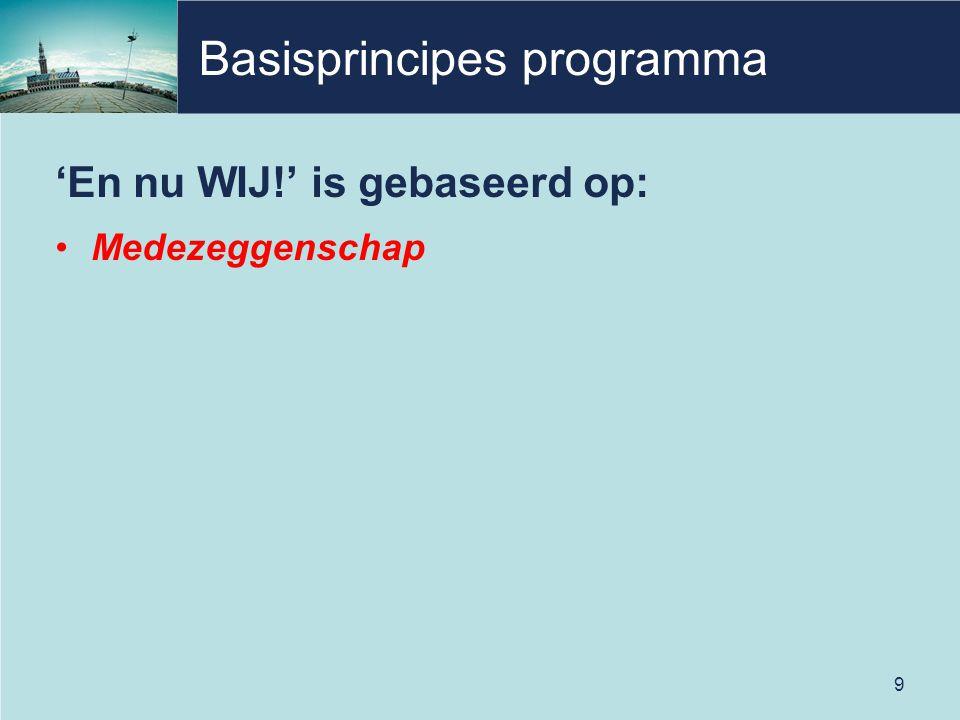 Basisprincipes programma 'En nu WIJ!' is gebaseerd op: Medezeggenschap 9