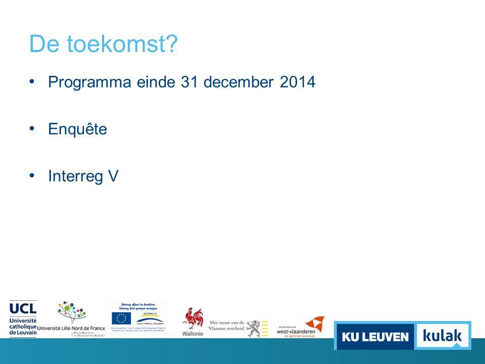 De toekomst? Programma einde 31 december 2014 Enquête Interreg V