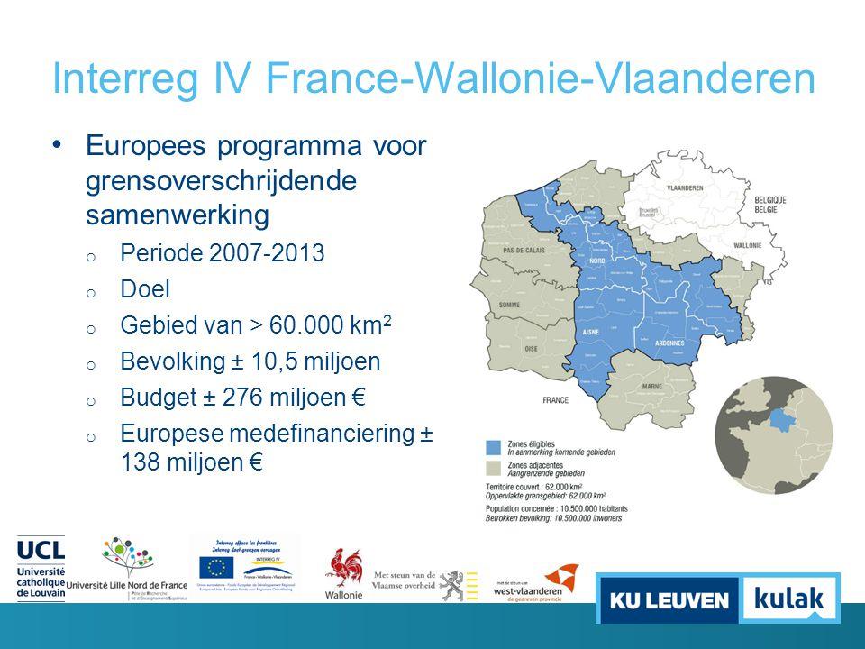 Interreg IV France-Wallonie-Vlaanderen Europees programma voor grensoverschrijdende samenwerking o Periode 2007-2013 o Doel o Gebied van > 60.000 km 2