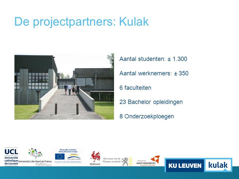 De projectpartners: Kulak Aantal studenten: ± 1.300 Aantal werknemers: ± 350 6 faculteiten 23 Bachelor opleidingen 8 Onderzoekploegen