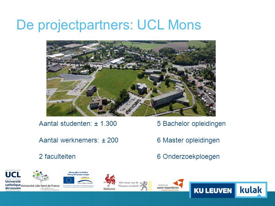 De projectpartners: UCL Mons Aantal studenten: ± 1.300 Aantal werknemers: ± 200 2 faculteiten 5 Bachelor opleidingen 6 Master opleidingen 6 Onderzoekp