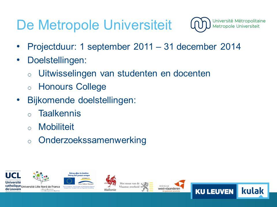 De Metropole Universiteit Projectduur: 1 september 2011 – 31 december 2014 Doelstellingen: o Uitwisselingen van studenten en docenten o Honours Colleg
