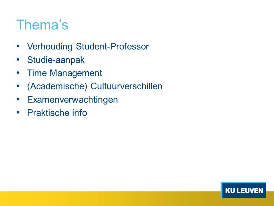 Thema's Verhouding Student-Professor Studie-aanpak Time Management (Academische) Cultuurverschillen Examenverwachtingen Praktische info