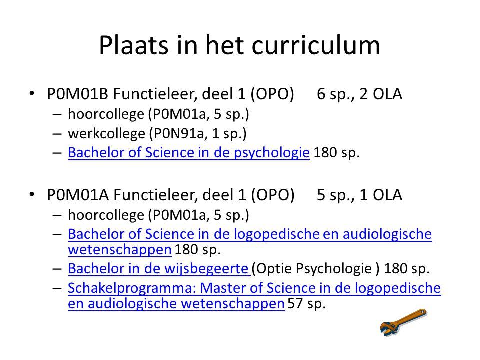 Plaats in het curriculum P0M01B Functieleer, deel 1 (OPO) 6 sp., 2 OLA – hoorcollege (P0M01a, 5 sp.) – werkcollege (P0N91a, 1 sp.) – Bachelor of Science in de psychologie 180 sp.