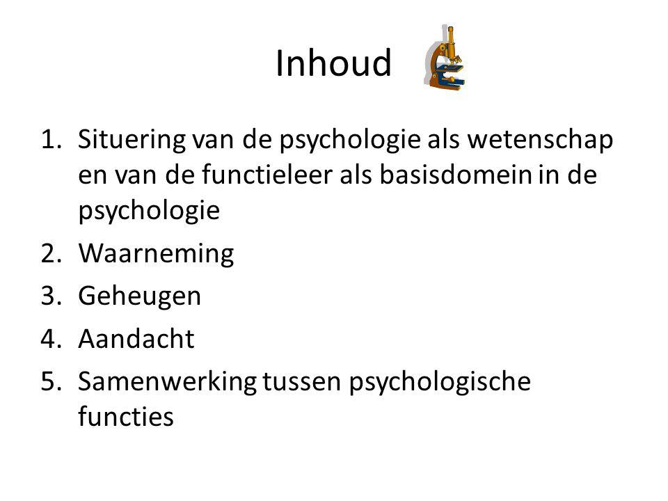 Inhoud 1.Situering van de psychologie als wetenschap en van de functieleer als basisdomein in de psychologie 2.Waarneming 3.Geheugen 4.Aandacht 5.Samenwerking tussen psychologische functies