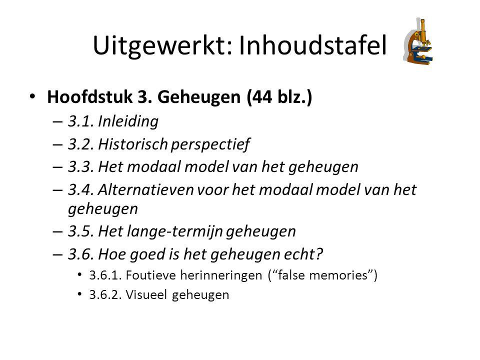 Uitgewerkt: Inhoudstafel Hoofdstuk 3. Geheugen (44 blz.) – 3.1. Inleiding – 3.2. Historisch perspectief – 3.3. Het modaal model van het geheugen – 3.4