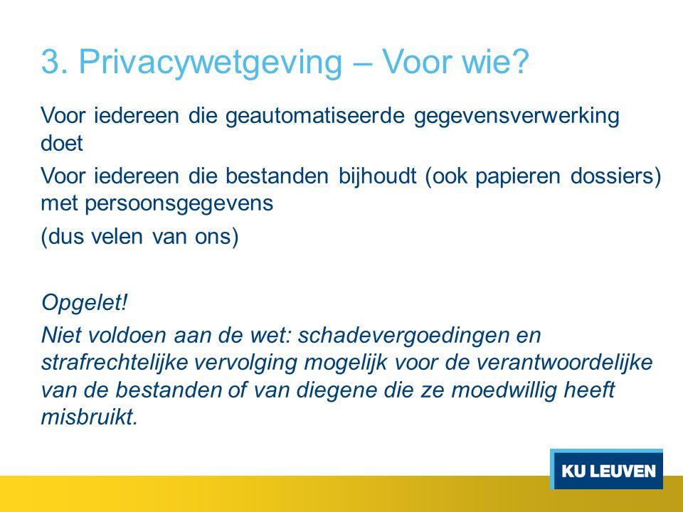 3. Privacywetgeving – Voor wie? Voor iedereen die geautomatiseerde gegevensverwerking doet Voor iedereen die bestanden bijhoudt (ook papieren dossiers