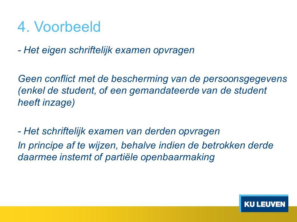 4. Voorbeeld - Het eigen schriftelijk examen opvragen Geen conflict met de bescherming van de persoonsgegevens (enkel de student, of een gemandateerde