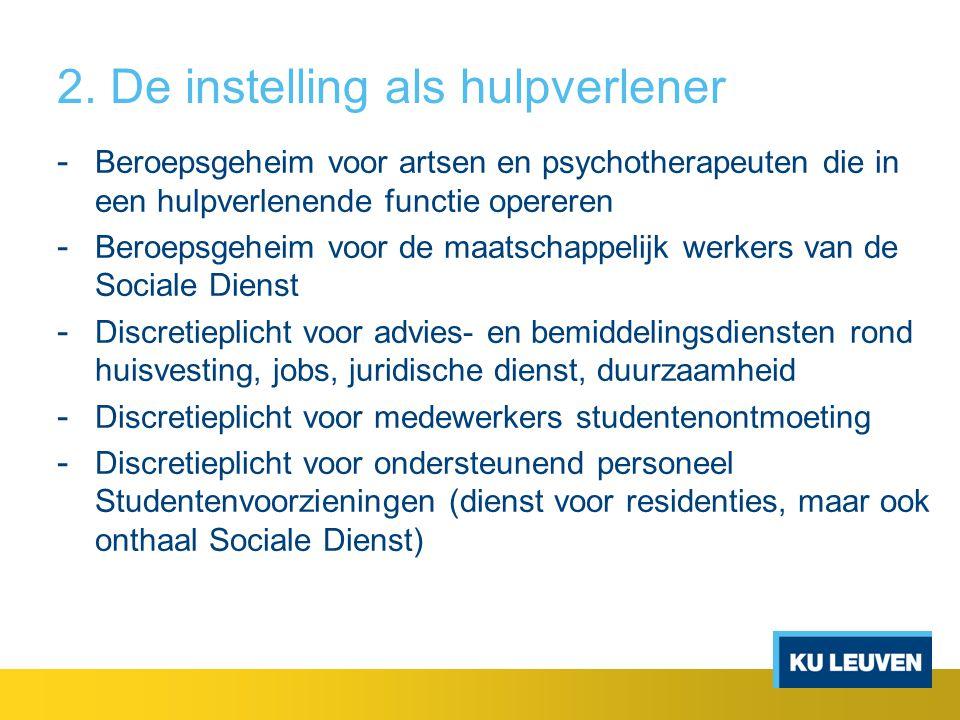 2. De instelling als hulpverlener - Beroepsgeheim voor artsen en psychotherapeuten die in een hulpverlenende functie opereren - Beroepsgeheim voor de