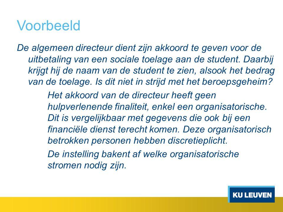 Voorbeeld De algemeen directeur dient zijn akkoord te geven voor de uitbetaling van een sociale toelage aan de student. Daarbij krijgt hij de naam van