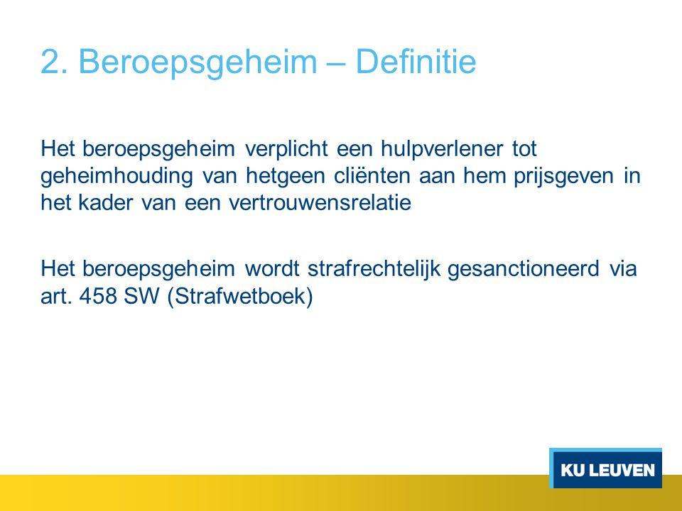 2.Beroepsgeheim - Betekenis Spreekrecht – Wanneer.