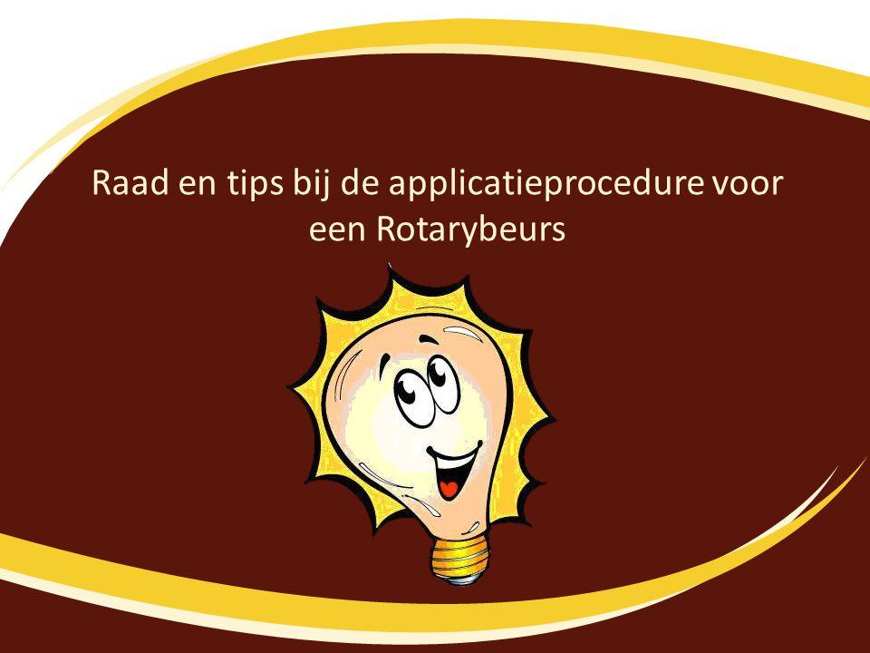Raad en tips bij de applicatieprocedure voor een Rotarybeurs