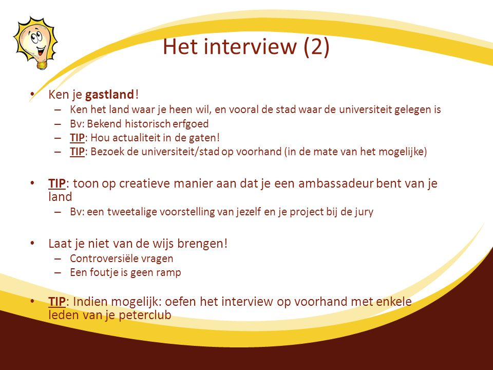 Het interview (2) Ken je gastland.