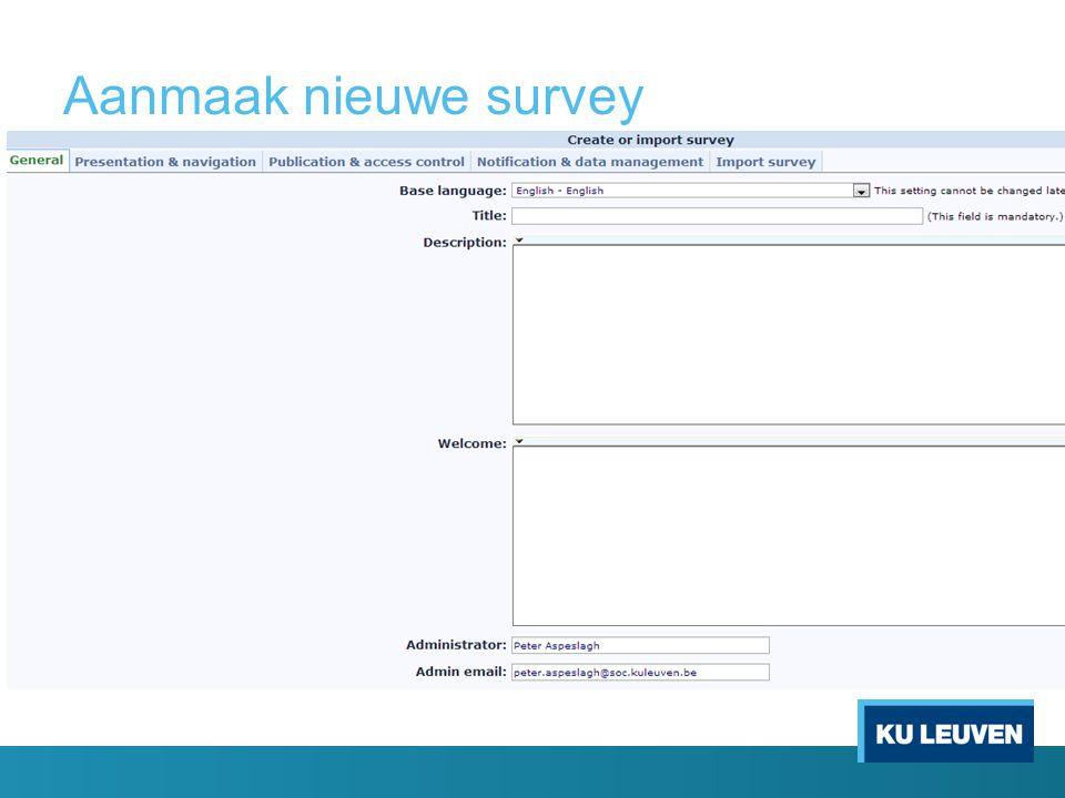 Aanmaak nieuwe survey