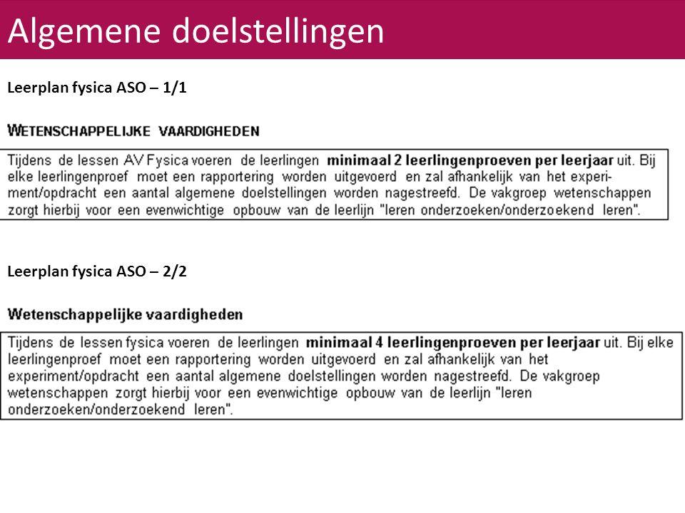 Algemene doelstellingen Leerplan fysica ASO – 2/2 Leerplan fysica ASO – 1/1