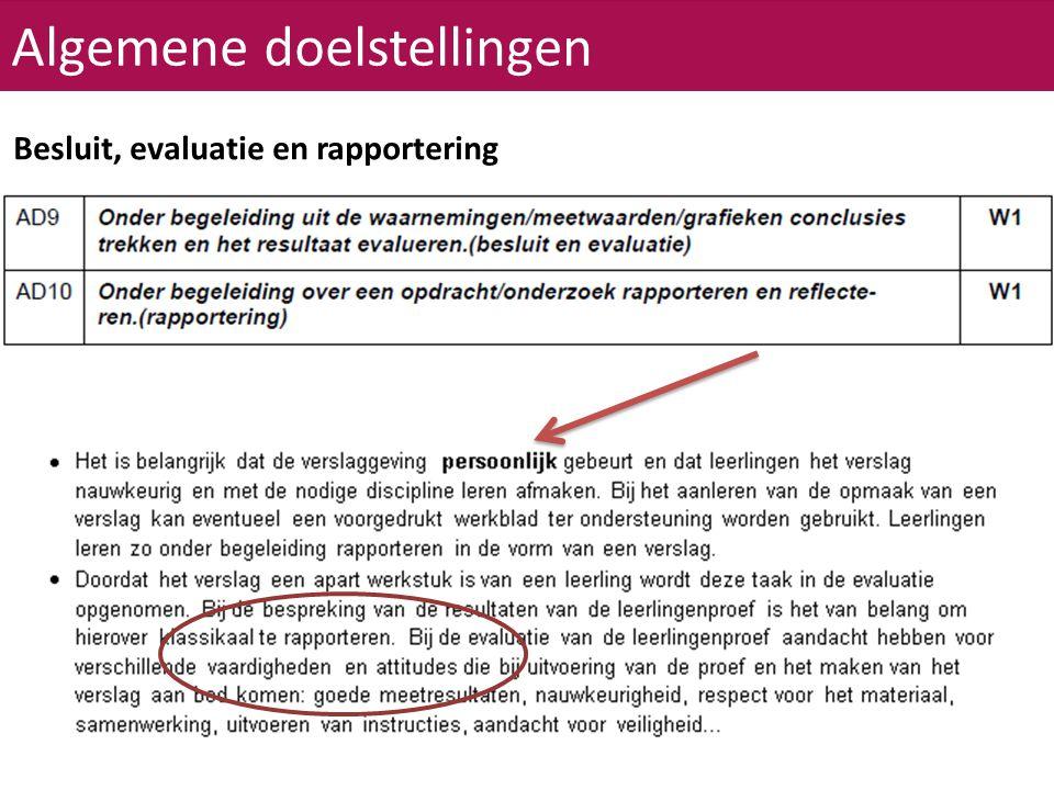 Algemene doelstellingen Besluit, evaluatie en rapportering